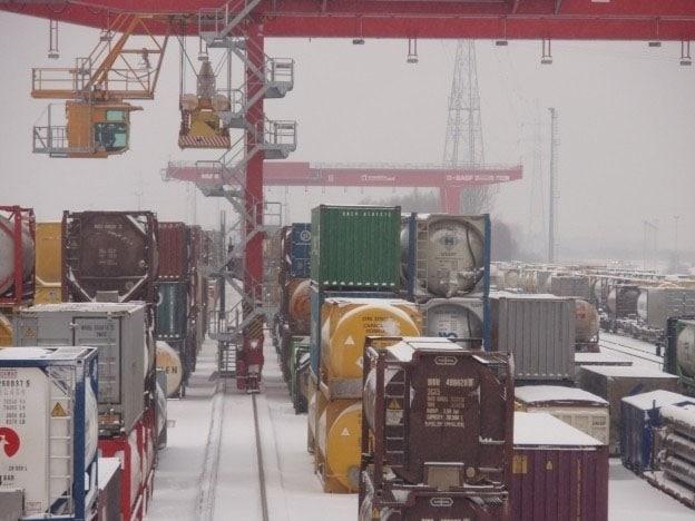 Vorstschade voedingskabeltrommel Kunz-containerkraan