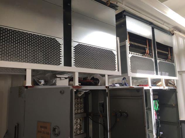 weerstandsbakken geïntegreerd in elektrakast